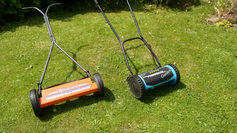 push lawnmowers - invented here in Stroud and quieter, less smelly, and often quicker than power mowers