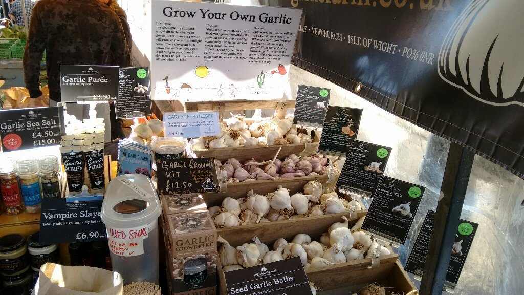 Seed garlic for sale at Stroud Farmers Market - plant most garlic varieties in November