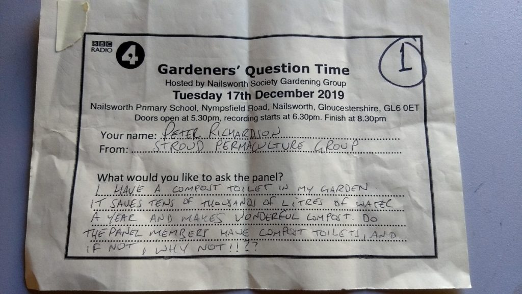 My Gardeners' Question Time question as submitted on the night.